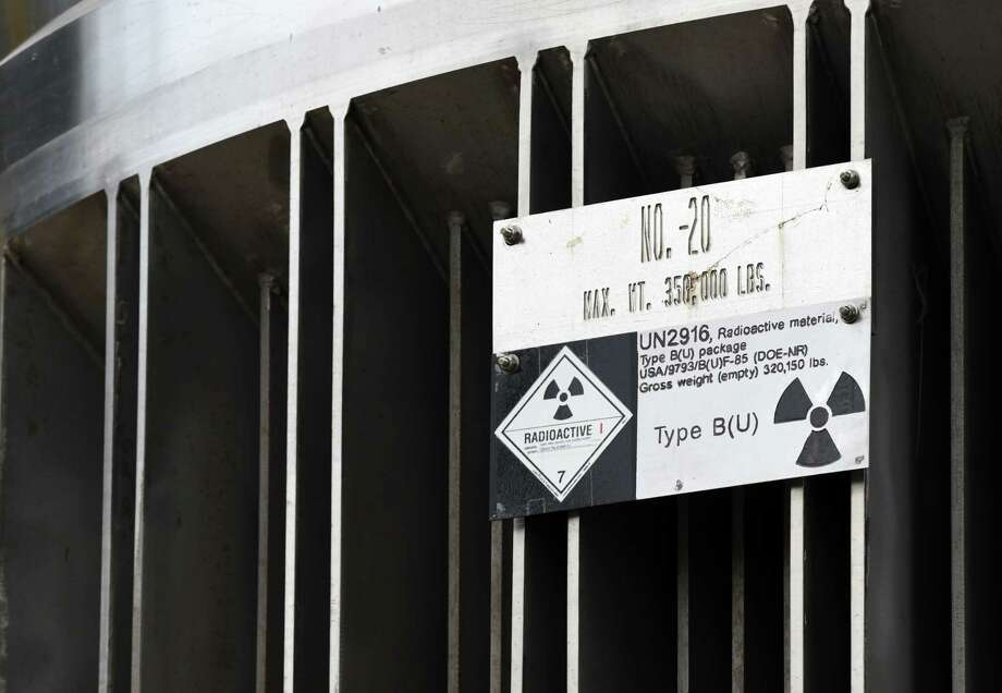 Hazard sign on a nuclear material containment vessel that was transported to the Kenneth M. Kesselring nuclear training site on Monday, June 18, 2018, in Ballston Spa, N.Y. The container will be used to support the refueling and overhaul of a reactor. (Will Waldron/Times Union) Photo: Will Waldron / 20044136A