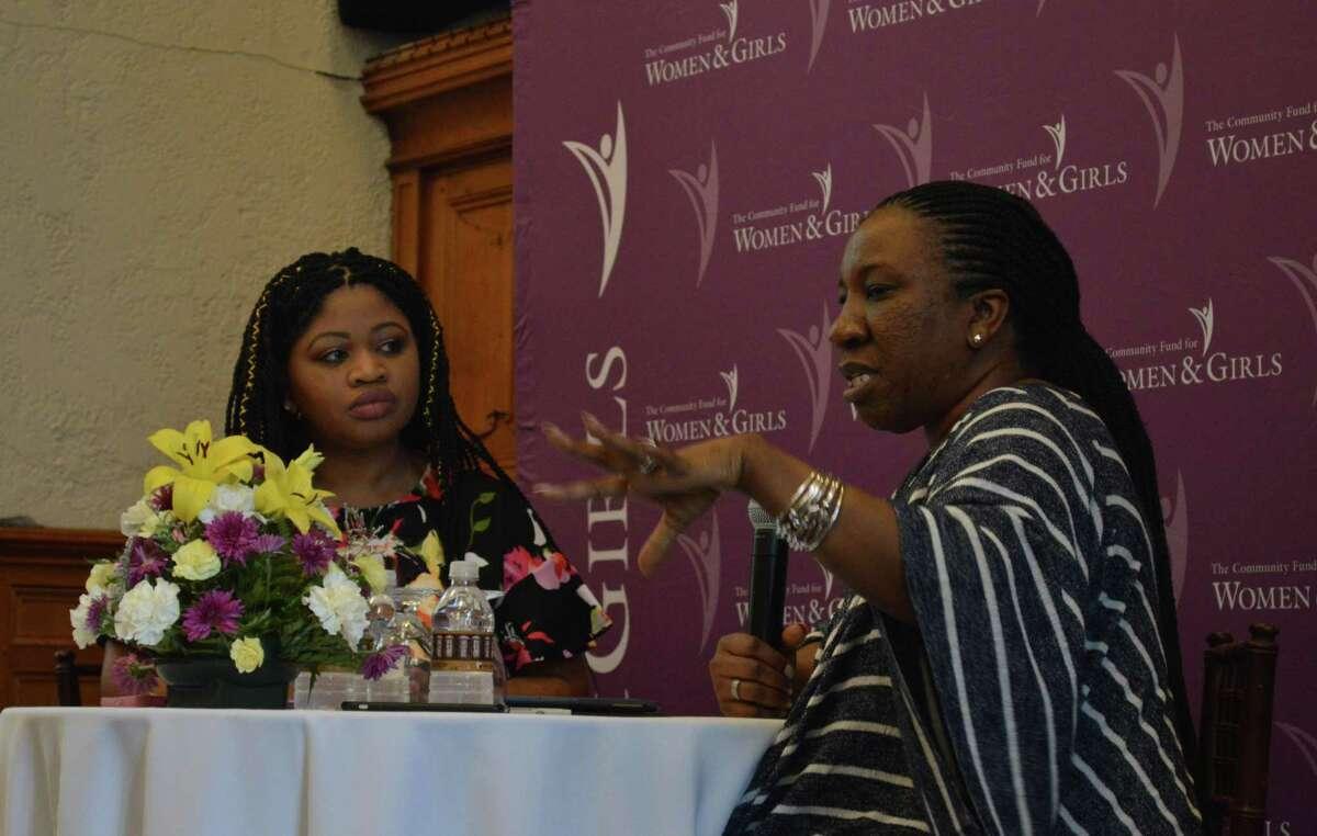 Tarana Burke, founder of the #MeToo movement, talks in New Haven Monday.