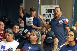 Frank Garcia ask a question to speakers at one of the four public hearings on the proposed Alamo plan on June 18. A reader critizes one critique of that plan.