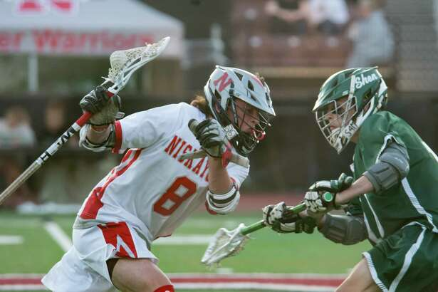 Niskayuna's Sweeney Eoghan charges past a Shenendehowa defender during a game on Monday, May 15, 2018, at Union College in Schenectady, N.Y. (Jenn March, Special to the Times Union)