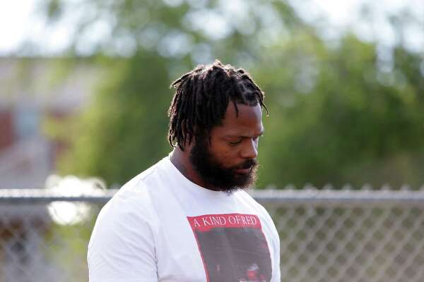 Former Seattle Seahawk Michael Bennett attends a remembrance event on the one-year anniversary of Charleena Lyles' death, Tuesday, June 18, 2018 at Magnuson Park. Lyles was killed one year ago by Seattle Police officers in her apartment after she called them for assistance.