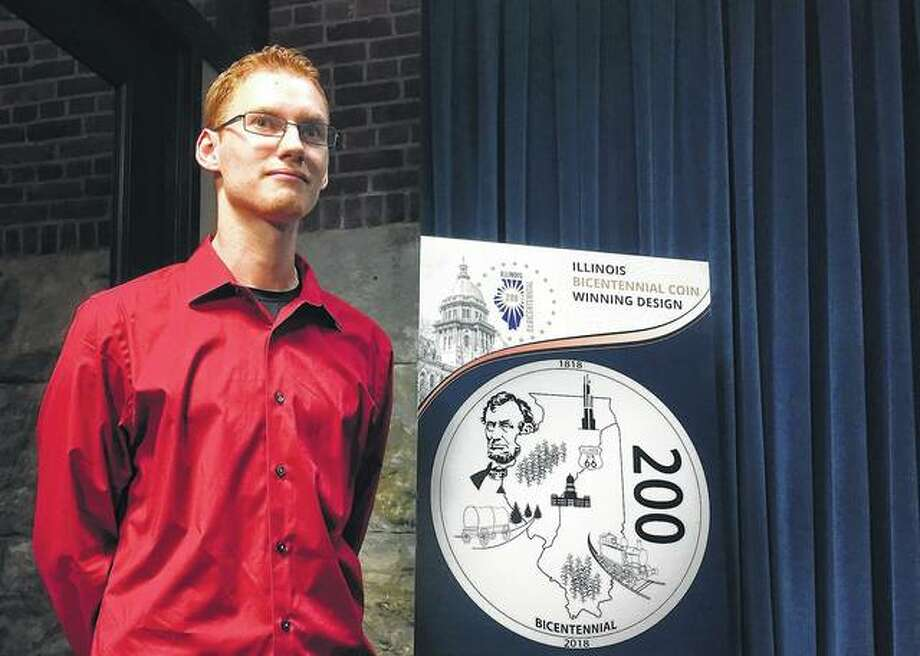 "Hayden Schumer of Chatham won a contest to determine the design of a coin for the state's bicentennial. Schumer's design is called ""The First 200."" It depicts President Abraham Lincoln, Chicago's Willis Tower, a corn crop, the state Capitol, southern Illinois' national forest and legendary highway Route 66. Photo:       John O'Connor 