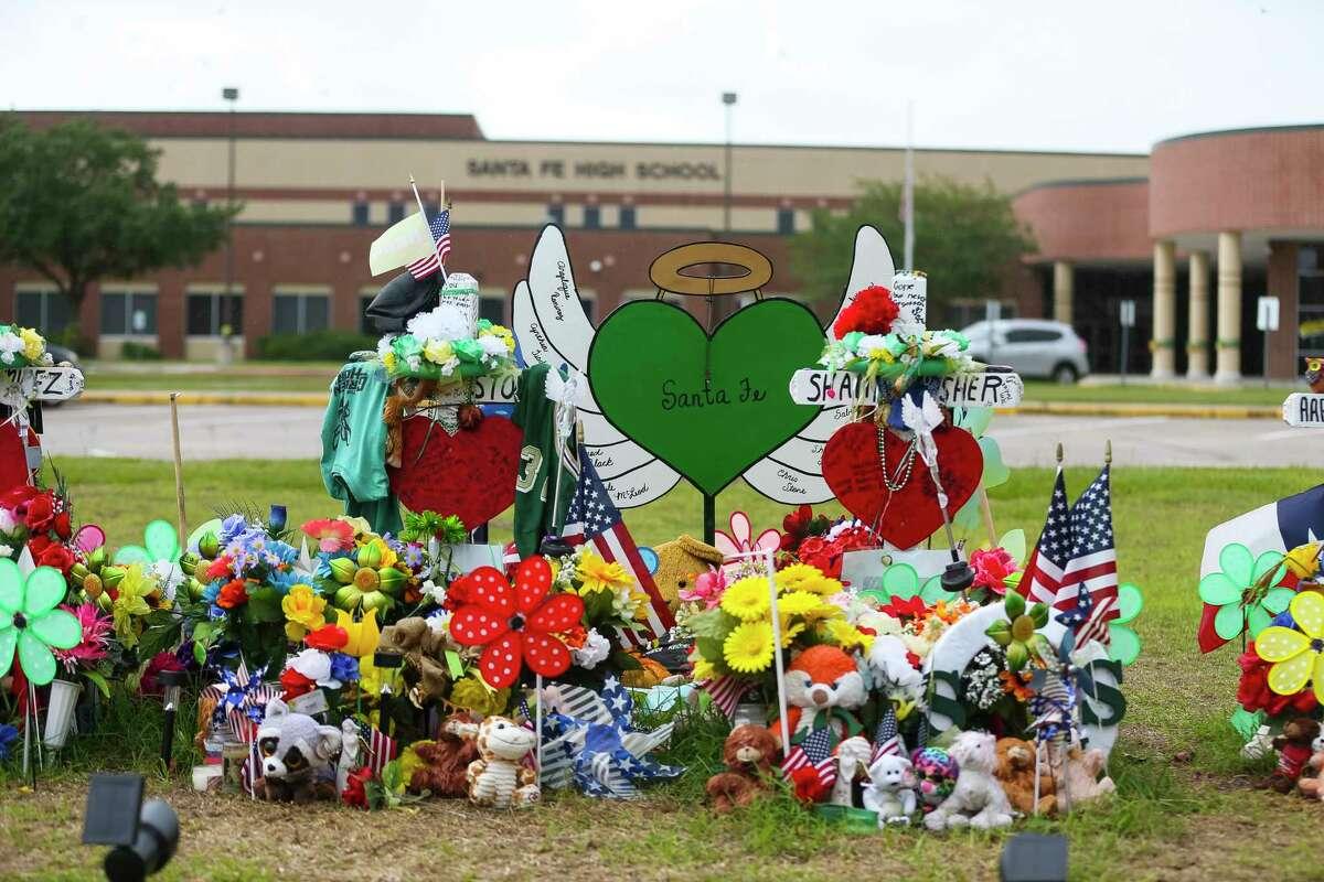 The memorial in front of Santa Fe High School along Highway 6, Monday, June 18, 2018 in Santa Fe.