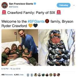 The San Francisco Giants shared news of Brandon Crawford's newborn son on Twitter.