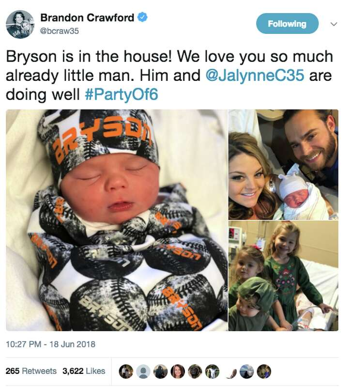 Giants shortstop Brandon Crawford posted photos of his newborn son on Twitter on June 18, 2018.