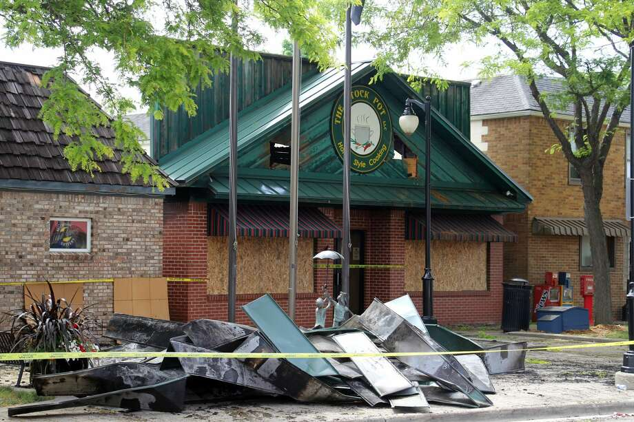 The aftermath of Monday's fire at The Stock Pot restaurant in Port Austin. Photo: Seth Stapleton/Huron Daily Tribune