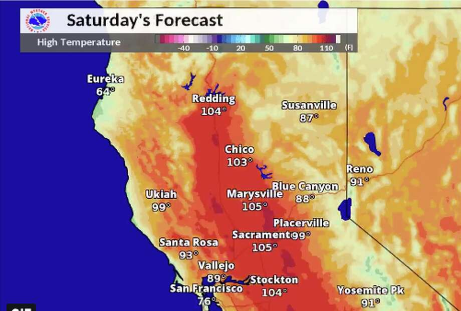 Northern California temperature forecast for Saturday. Photo: National Weather Service