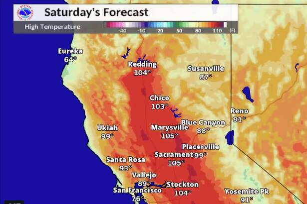 Northern California temperature forecast for Saturday.