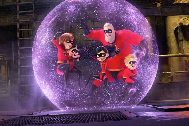 """In a scene from """"Incredibles 2,"""" Violet uses a force field to protect her superhero family, including her brother Dash, voiced by Huck Milner, 10."""