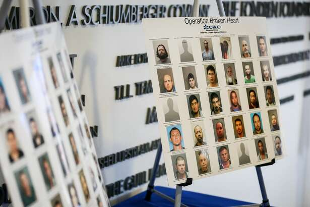 Photos of people arrested as part of Operation Broken Heart are pictured during a press conference with the Internet Crimes Against Children Task Force on Tuesday, June 19, 2018, at The Children's Assessment Center.