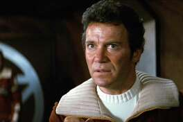 "Screengrab of William Shatner as Admiral James T. Kirk in 1982's ""Star Trek II: The Wrath of Khan."" Shatner will answer audience questions live onstage following a screening of the film Friday, June 22, 2018, at the Tobin Center for the Performing Arts."