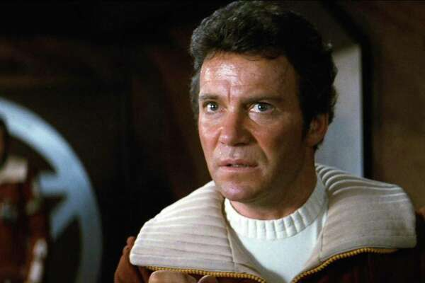 """Screengrab of William Shatner as Admiral James T. Kirk in 1982's """"Star Trek II: The Wrath of Khan."""" Shatner will answer audience questions live onstage following a screening of the film Friday, June 22, 2018, at the Tobin Center for the Performing Arts."""