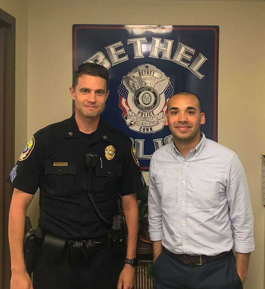 Bethel Police Sergeant James Christos, left, and Raghib Allie-Brennan. Photo: /