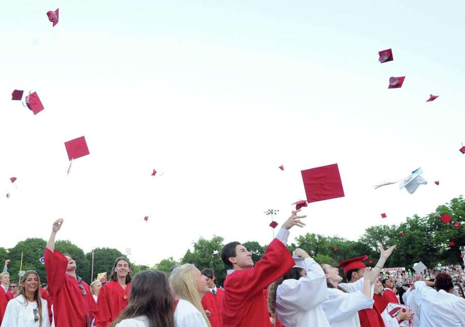 Commencement exercises for the Class of 2018 at Greenwich High School will be held at 6:30 p.m. Wednesday at Cardinal Stadium. Photo: File / Bob Luckey / Bob Luckey / Greenwich Time