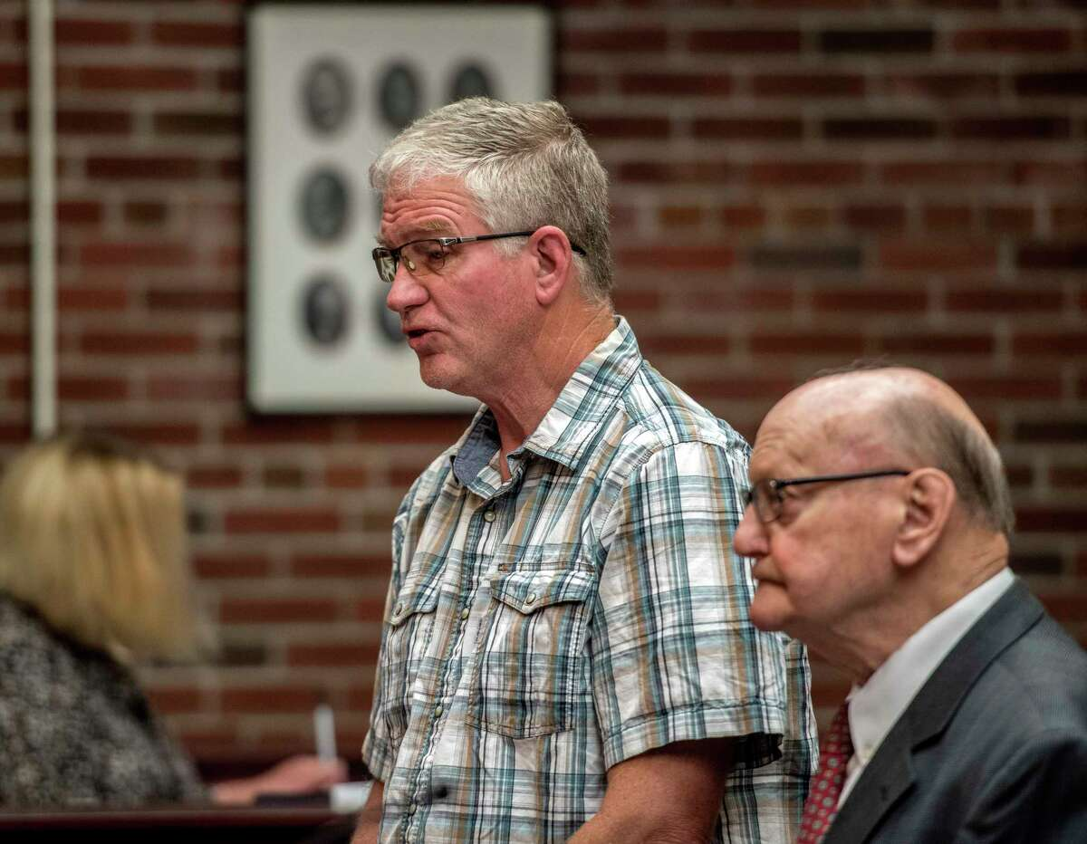Former Stillwater Mayor Ricky Nelson, left, stands with his attorney John McMahon during his sentencing by Saratoga County Court Judge James Murphy Tuesday June 19, 2018 in Ballston Spa, N.Y. (Skip Dickstein/Times Union)