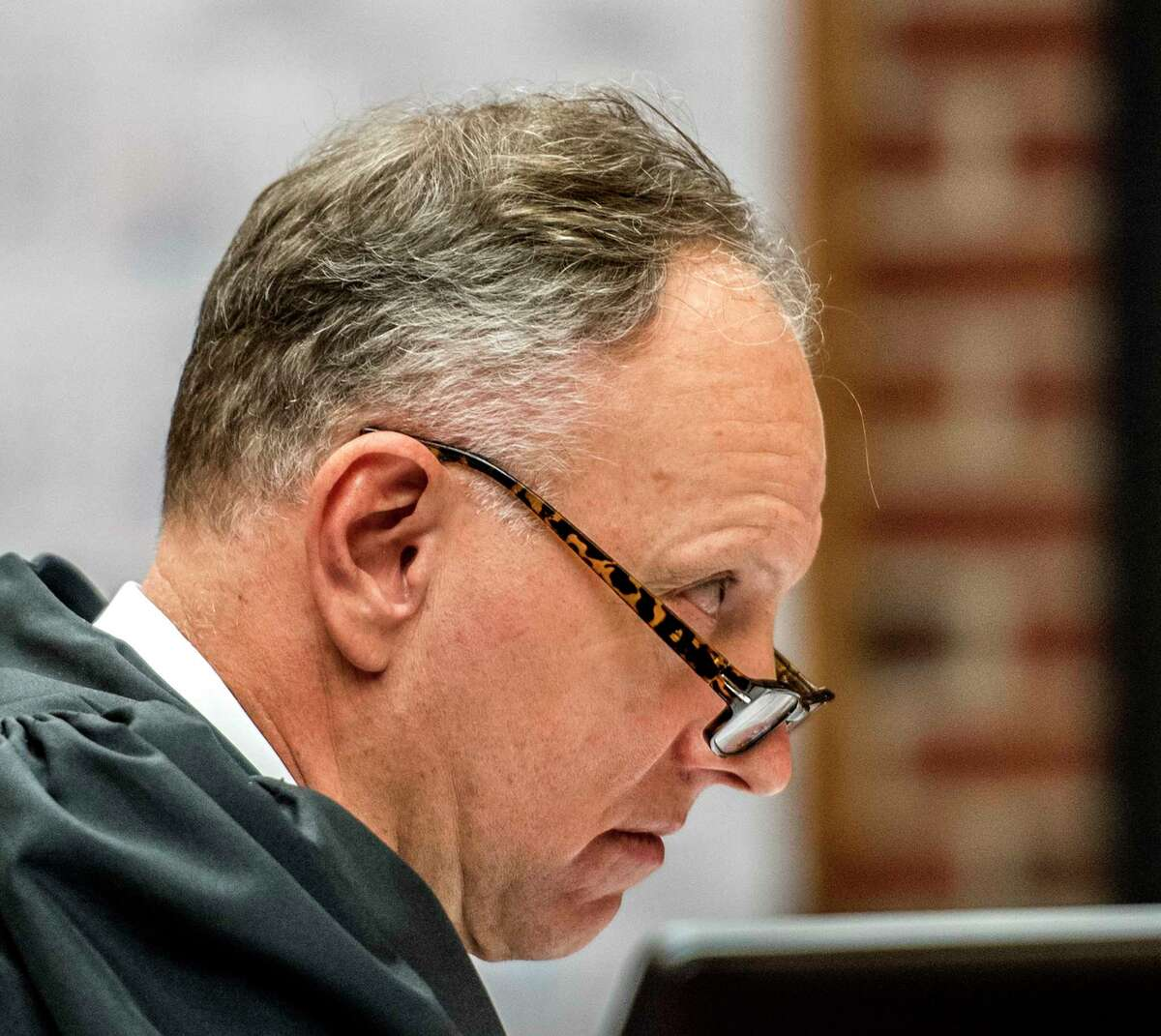 Saratoga County Court Judge James Murphy presides over the sentencing of former Stillwater Mayor Ricky Nelson Tuesday June 19, 2018 in Ballston Spa, N.Y. (Skip Dickstein/Times Union)