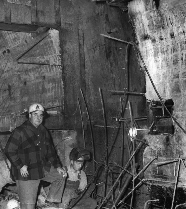 Workers build the Washburn Tunnel in Pasadena in the 1950s. The tunnel is scheduled for major maintenance and repairs this summer, which will mean closures including from 8 p.m. June 21 to 4 a.m. June 22.