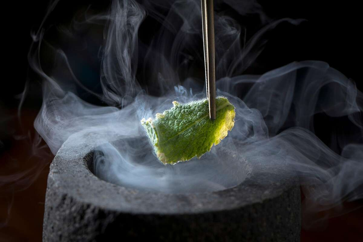 The English Pea & Mint being prepared at Atelier Crenn, run by Dominique Crenn since 2011, in San Francisco, Calif., on Wednesday, June 13, 2018.