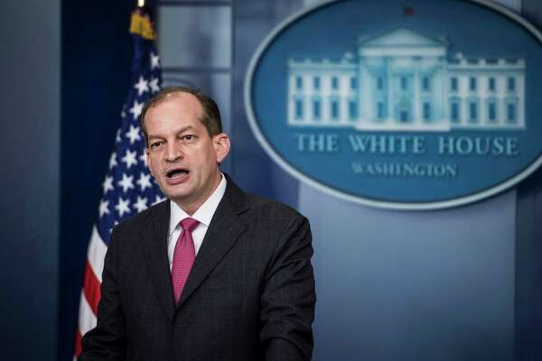 Labor Secretary Alexander Acosta talks to reporters during a briefing at the White House on June 12, 2017.