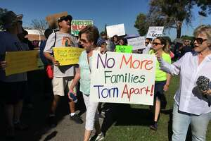 More than 1,000 people march on an immigration center in El Paso.