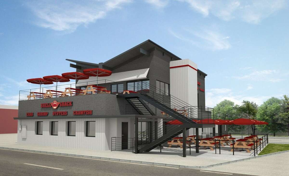 Dallas-based Shell Shack restaurant, will open its first Houston location at 2412 Washington in July 2018. Shown: Artist rendering. The two-level restaurant will feature two bars, two patios and seating for 317 guests.