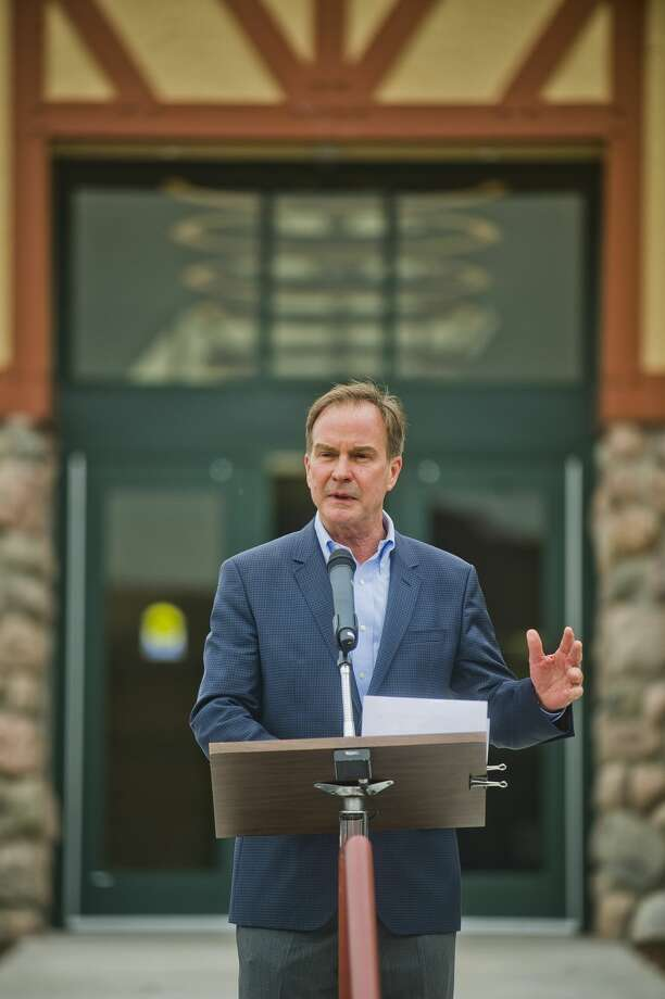 Michigan Attorney General Bill Schuette speaks during a rededication ceremony for the Midland County Courthouse and a ribbon cutting for its new entryway on Tuesday, June 19, 2018 in downtown Midland. (Katy Kildee/kkildee@mdn.net) Photo: (Katy Kildee/kkildee@mdn.net)