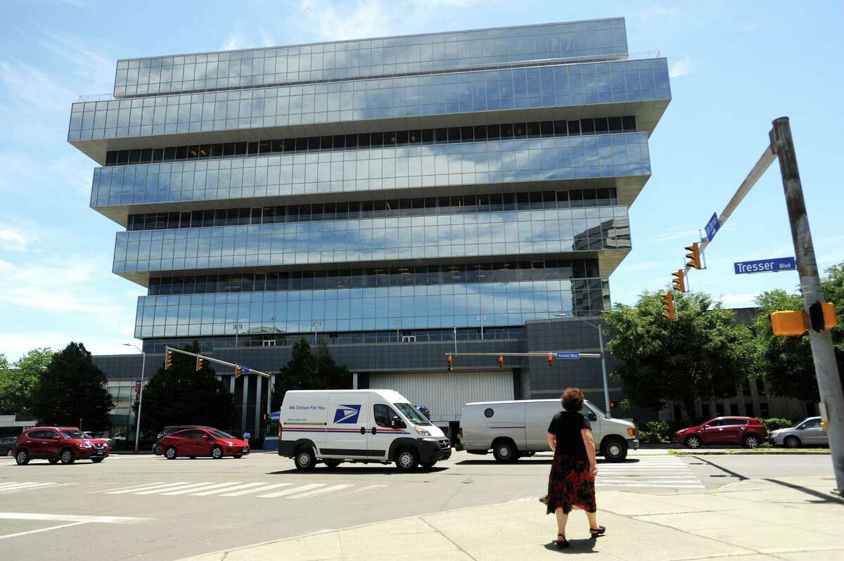 The Purdue Pharma headquarters on Tresser Blvd. in downtown Stamford, Conn. on Tuesday, June 19, 2018. Purdue recently announced more layoffs as it moves away from opioids, namely OxyContin, and increases focus on new cancer and nervous-system disorder drugs.