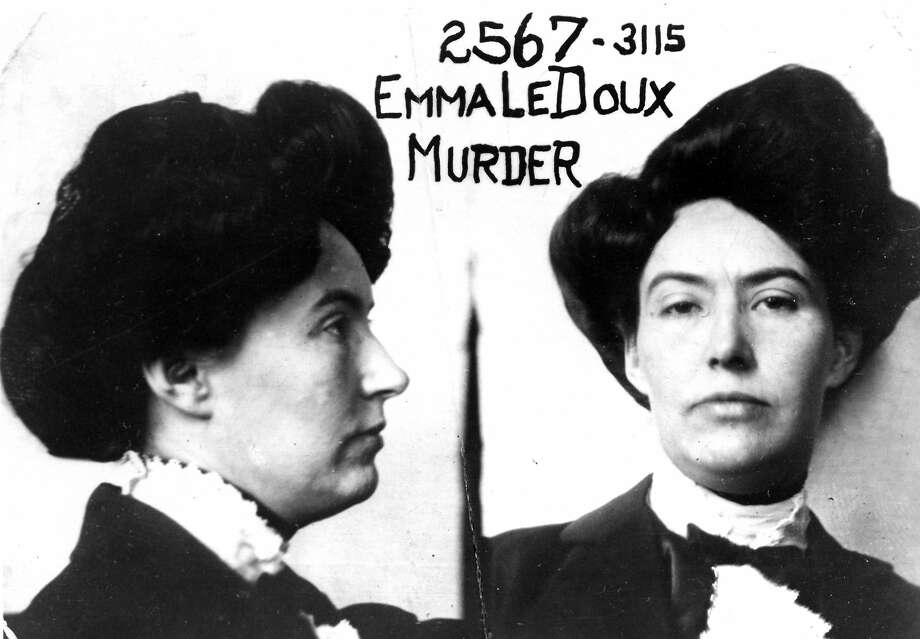 Emma LaDoux, the Trunk Murderess, in her prison mugshot. LaDoux was convicted of murdering her second husband and stuffing him in a trunk bound for San Francisco. The image is courtesy of the Haggin Museum in Stockton. Photo: Courtesy Of The Haggin Museum