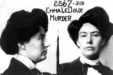 Emma LaDoux, the Trunk Murderess, in her prison mugshot. LaDoux was convicted of murdering her second husband and stuffing him in a trunk bound for San Francisco. The image is courtesy of the Haggin Museum in Stockton.