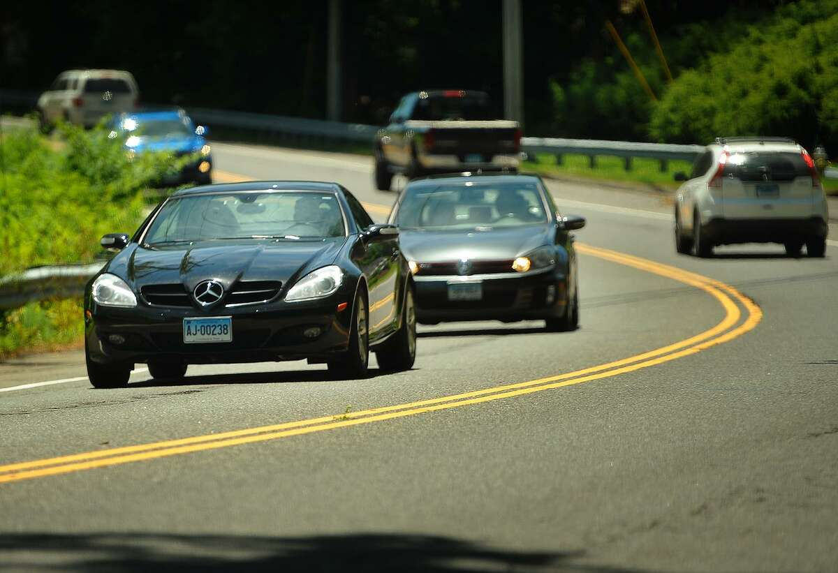 Traffic on River Road in Shelton, Conn. near the scene of a crash that killed two people on April 8 of this year.