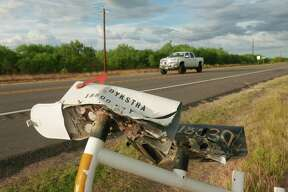 Roadside mailboxes were mangled in a rollover accident of an SUV that was carrying illegal immigrants along Texas Highway 85 in Big Wells, Texas, on Sunday, June 17, 2018. Five people died as a result of the crash.
