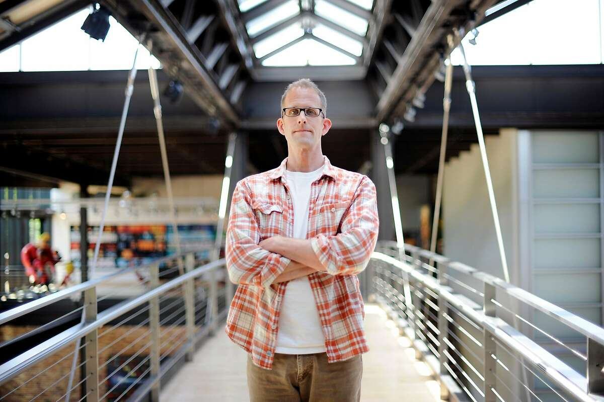 """Academy Award-winning director Pete Docter, who's new animated film """"Inside Out"""" is due for release in June, poses for a portrait at the Pixar Studios in Emeryville, CA on Friday, April 24, 2015."""