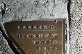 This little plaque was on the sidewalk next to 1500 Sansome St. promising a surprise below.