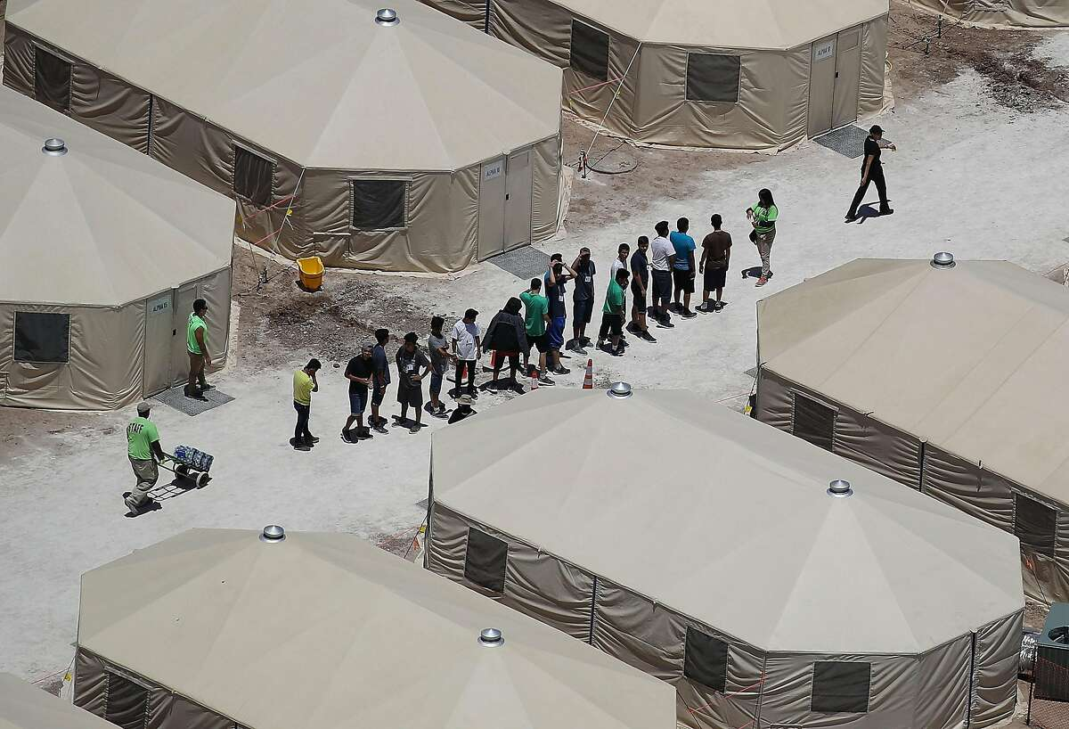 A recently built tent encampment for immigrant children in Tornillo, Texas.
