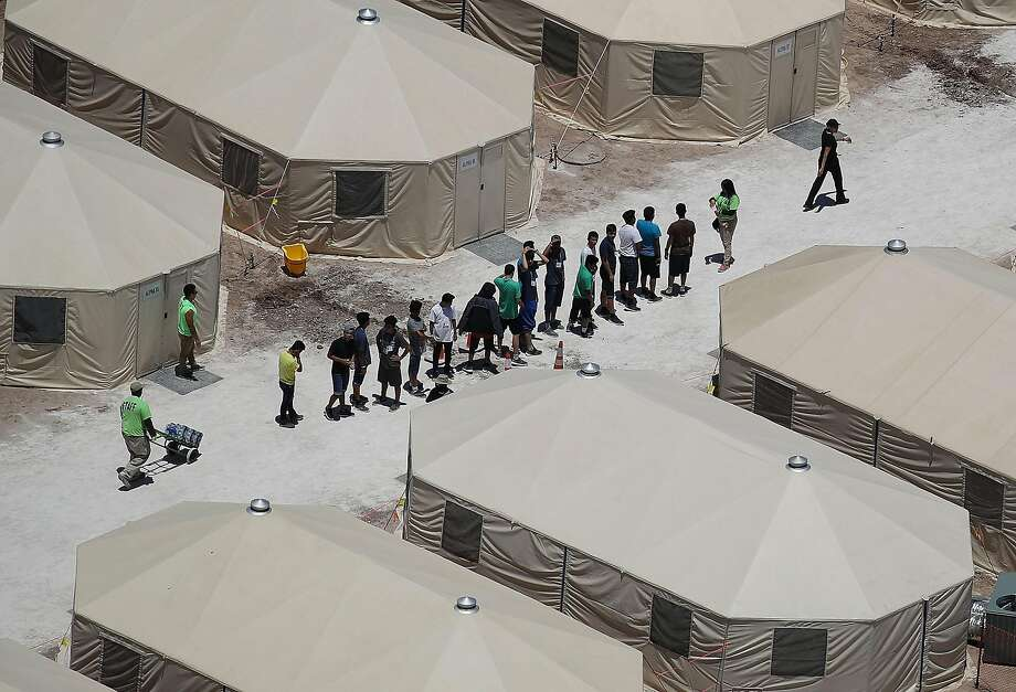 A recently built tent encampment for immigrant children in Tornillo, Texas. Photo: Joe Raedle / Getty Images