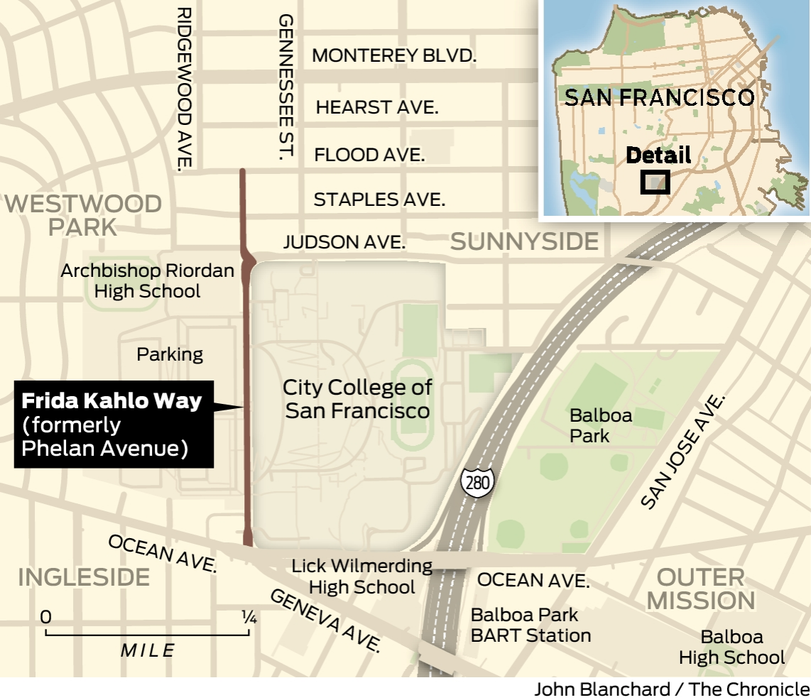 Citing connection, SF changes Phelan Avenue to Frida Kahlo ... on