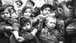 Some of the 600 children, who had survived the Auschwitz II-Birkenau, show their tattooed identification numbers. Some 7,000 prisoners, including more than 600 children and youths below the age of 18, were alive when the camp was liberated in 1945.