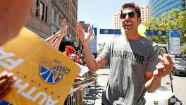 General manager Bob Myers during Golden State Warriors' NBA Championship parade  in Oakland, CA on Tuesday, June12, 2018.
