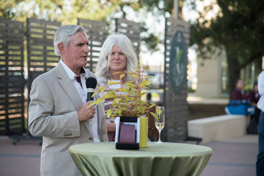Concho Resources Chairman and CEO Tim Leach speaks Friday at the opening of the Leach Teaching Gardens at Texas A&M. Leach and his wife, Amy, right, were the project's lead donors. Photo: Courtesy Of Texas A&M University