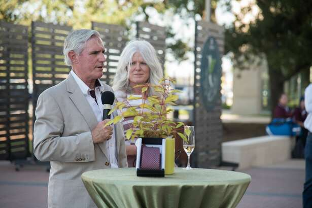 Concho Resources Chairman and CEO Tim Leach speaks Friday at the opening of the Leach Teaching Gardens at Texas A&M. Leach and his wife, Amy, right, were the project's lead donors.