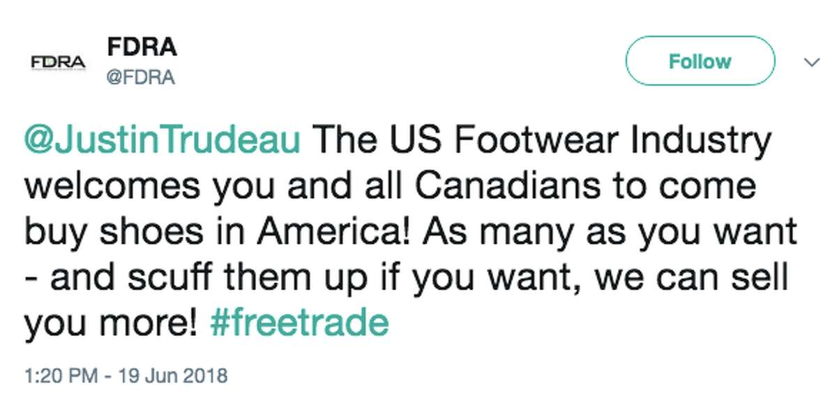 Twitter reacts to President Trump accusing Canadians of smuggling shoes across the border.