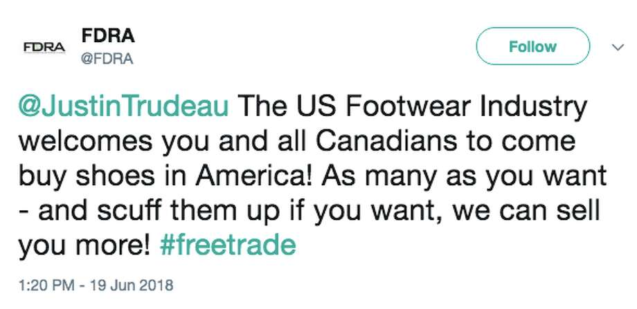 Twitter reacts to President Trump accusing Canadians of smuggling shoes across the border. Photo: Twitter