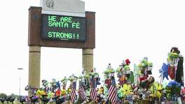 The memorial in front of Santa Fe High School along Highway 6, Monday, June 18, 2018 in Santa Fe.  ( Mark Mulligan / Houston Chronicle )