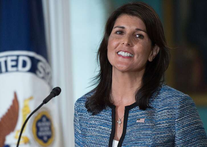 US Ambassador to the United Nation Nikki Haley smiles at the US Department of State in Washington DC on June 19, 2018. The United States announced that it is withdrawing from the UN Human Rights Council. / AFP PHOTO / Andrew CABALLERO-REYNOLDSANDREW CABALLERO-REYNOLDS/AFP/Getty Images