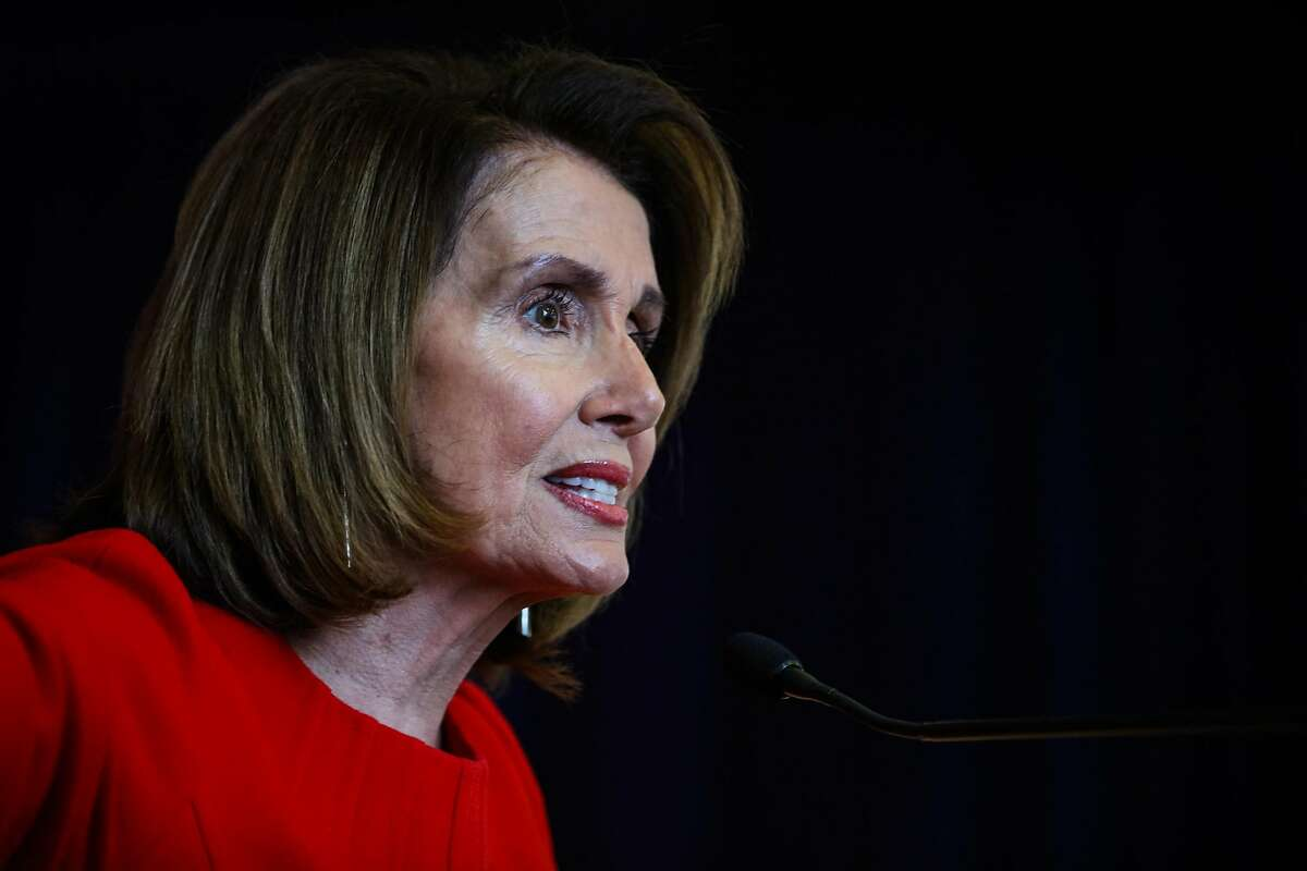 Congresswoman Nancy Pelosi speaks at her annual New Years celebration at the Golden Gate Club in San Francisco, California, on Sunday, Jan. 14, 2018.
