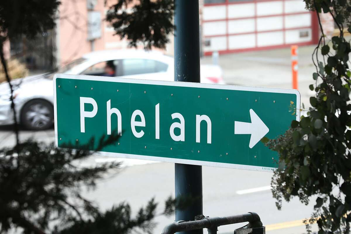 A sign on Ocean Avenue directs where to turn for Phelan Avenue. San Francisco supervisors voted Tuesday to rename the street in the Ingleside as Frida Kahlo Way.