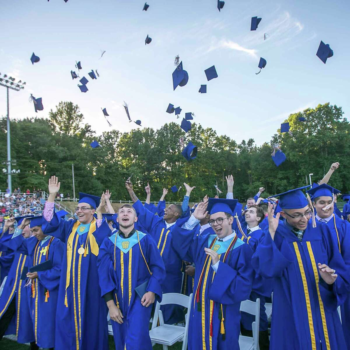 (John Vanacore/For Hearst Connecticut Media) Seymour High School graduates celebrate at the conclusion of Commencement exercises Tuesday evening.