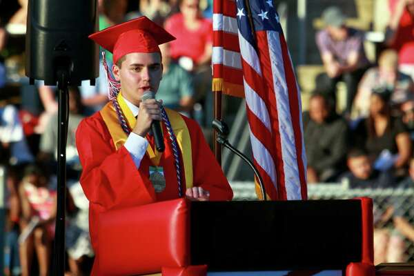 Graduate Christian Olenoski gives the Valedictory Address during Derby High School's 142nd Commencement in Derby, Conn., on Tuesday, June 19, 2018.