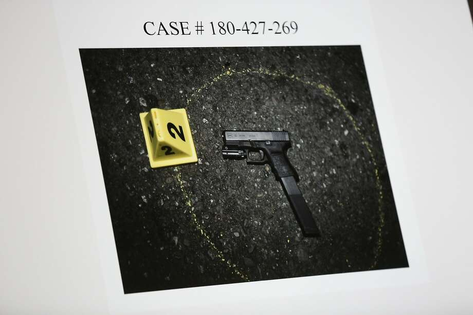 The weapon retrieved at the scene from an officer-involved shooting is seen during a town hall meeting at the Cathay Post No. 384, Thursday, June 14, 2018, in San Francisco. Police officials described the scene of an officer-involved shooting. On June 9, police said Oliver Barcenas, 28, drew a firearm from his waist as he fled police. The pursuing officer discharged his firearm and struck Barcenas, who was taken into custody and remains in the hospital recovering from his injury. Photo: Santiago Mejia / The Chronicle