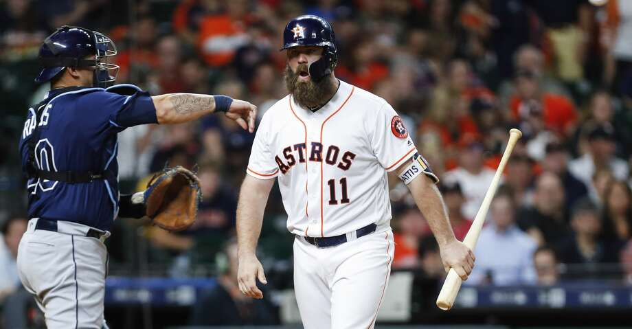 Houston Astros catcher Evan Gattis (11) reacts after striking out against the Tampa Bay Rays during the fourth inning of a major league baseball game at Minute Maid Park on Tuesday, June 19, 2018, in Houston. ( Brett Coomer / Houston Chronicle ) Photo: Brett Coomer/Houston Chronicle